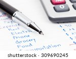 hand writing home budget with... | Shutterstock . vector #309690245