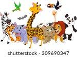 Stock vector cartoon wild animals 309690347