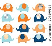 coral and navy cute elephant set   Shutterstock .eps vector #309699539