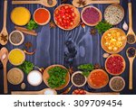 various spices and herbs | Shutterstock . vector #309709454