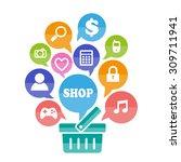 abstract shopping flat basket...   Shutterstock .eps vector #309711941