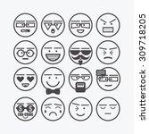 Cute Emoticons Set   Line...