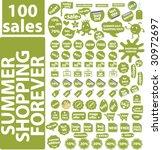 100 summer shopping signs.... | Shutterstock .eps vector #30972697