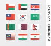 asian continent flags flat set | Shutterstock .eps vector #309727607