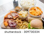 fast food and unhealthy eating... | Shutterstock . vector #309730334