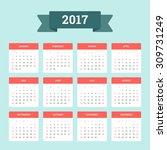 calendar 2017. week starts from ... | Shutterstock .eps vector #309731249