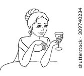 young woman with a wine glass | Shutterstock .eps vector #309740234