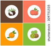 fruit icons  round white fruit... | Shutterstock . vector #309751535