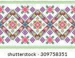embroidered handmade cross... | Shutterstock .eps vector #309758351