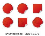blank red stickers. vector... | Shutterstock .eps vector #30976171