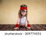 funny strong child. girl power...   Shutterstock . vector #309774551