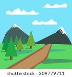 summer landscape with green... | Shutterstock .eps vector #309779711