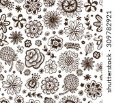 wildflowers. hand drawn doodles ... | Shutterstock .eps vector #309782921