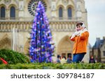 happy young tourist in paris on ... | Shutterstock . vector #309784187