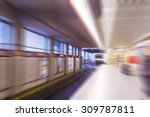 subway train in metro station... | Shutterstock . vector #309787811
