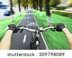 cyclist riding on the bike path | Shutterstock . vector #309798089