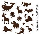 vector set of cartoon funny... | Shutterstock .eps vector #309798311