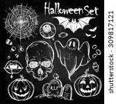 set of different halloween... | Shutterstock .eps vector #309817121
