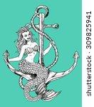 marine symbol with mermaid...   Shutterstock .eps vector #309825941