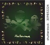 card merry halloween bones... | Shutterstock .eps vector #309852224