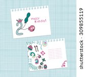 birthday. 2 years. invitation ... | Shutterstock .eps vector #309855119