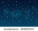 shiny stars on night sky... | Shutterstock .eps vector #309855947