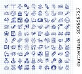 doodle toy icons | Shutterstock .eps vector #309858737