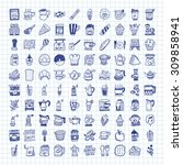 doodle coffee icons   Shutterstock .eps vector #309858941