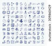 doodle communication icons | Shutterstock .eps vector #309860429