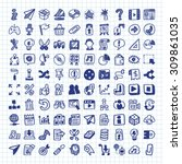 doodle web icons | Shutterstock .eps vector #309861035