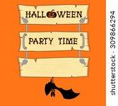 vector bat and halloween... | Shutterstock .eps vector #309866294