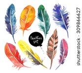 watercolor feather set. hand... | Shutterstock . vector #309866627