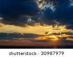 Ocean Sunset With The Sun...