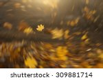 strong wind blowing yellow... | Shutterstock . vector #309881714