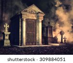 foggy graveyard with crosses... | Shutterstock . vector #309884051