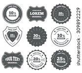 vintage emblems  labels. sale... | Shutterstock .eps vector #309892229