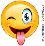 emoticon with stuck out tongue... | Shutterstock .eps vector #309895229