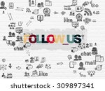 social network concept  painted ... | Shutterstock . vector #309897341