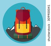 backpack with mountains flat... | Shutterstock .eps vector #309900041