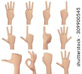 hand showing number sign.... | Shutterstock . vector #309900545