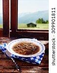 specialty liver spaetzle in... | Shutterstock . vector #309901811
