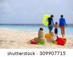 Sand Castle On Tropical Beach ...
