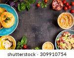 table served with middle... | Shutterstock . vector #309910754