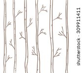 autumn. trees. straight. birch... | Shutterstock .eps vector #309911411