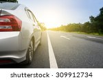 close up side of  silver car... | Shutterstock . vector #309912734