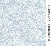 Blue Paisley Seamless Pattern