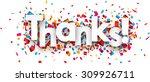 white thanks sign over confetti ... | Shutterstock .eps vector #309926711