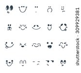 set of hand drawn funny faces.... | Shutterstock .eps vector #309929381
