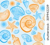 seamless pattern with seashells ... | Shutterstock .eps vector #309942239