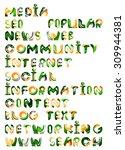 social media in the internet  ... | Shutterstock . vector #309944381